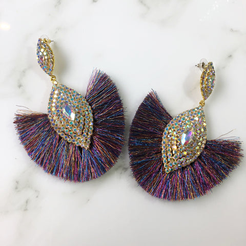 Multi Color Metallic Fringe Earrings