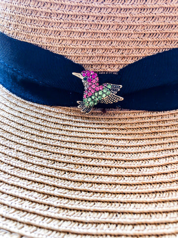 Rhinestone Bird Wide Brimmed Hat