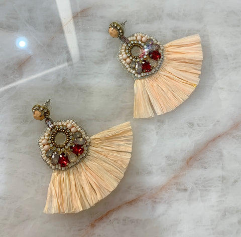 Peach Straw Crystal Earrings