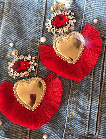 Red Heart Glam Earrings