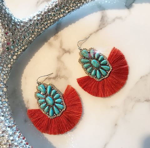 Turquoise and Burnt Orange Fringe Earrings