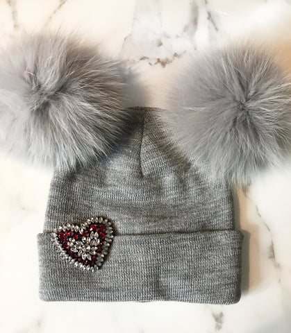 Grey Double Pom Pom Beanie