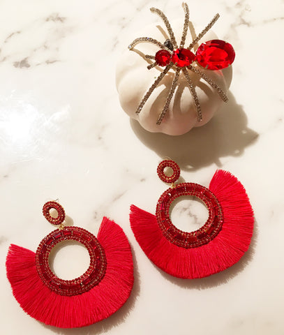 Red Crystal Fan Hoops