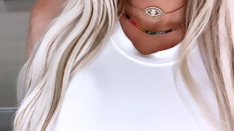 18k CZ Evil Eye Adjustable Necklace/Choker