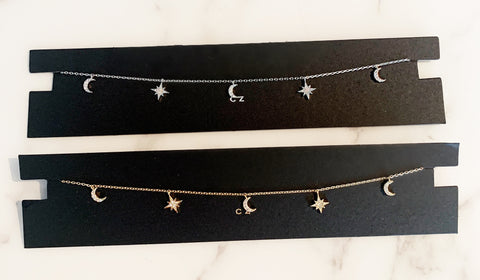 Tiny CZ Star and Moon Necklace