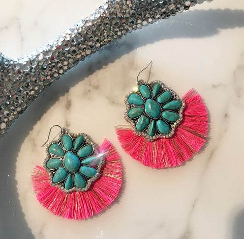 Metallic Hot Pink Turquoise AB Fringe Earrings