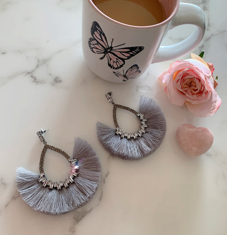 Gray Crystal Fan Earrings