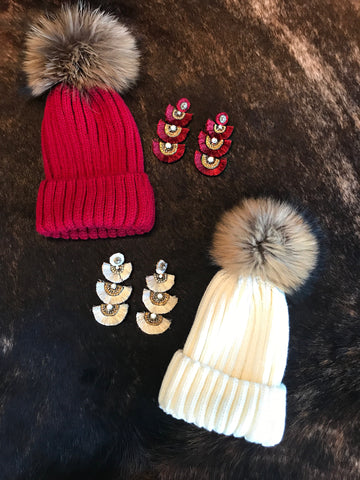 Red or White Pom Pom Beanie