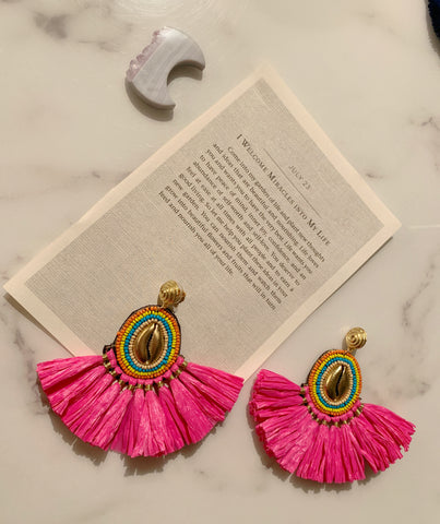 Hot Pink Straw Shell Earrings