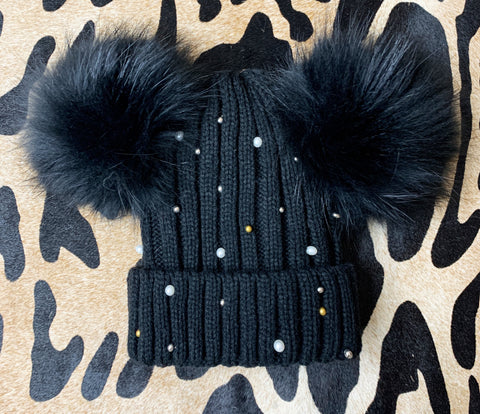Black Pearl and Stud Fur Beanie