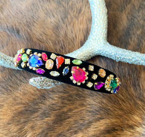 Multi Color Gemstone Velvet Headband