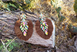 Brown Crystal Fan Earrings