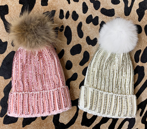 Light Pink and White Crystal Beanies