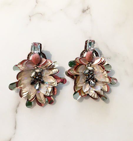 Embellished Flower Garden Party Earrings
