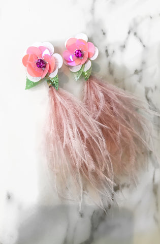 Pink Flower Feather Earrings