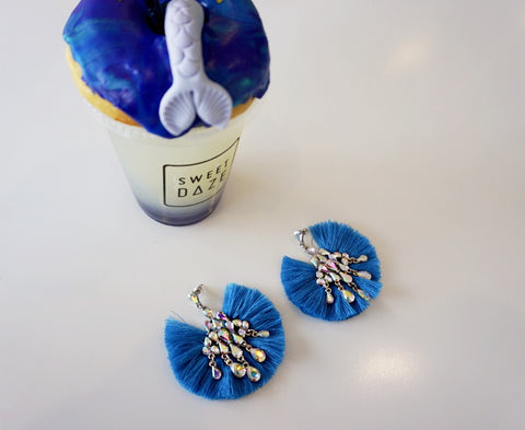 Blue AB Crystal Fan Earrings