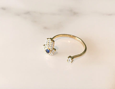 Hamsa Adjustable Ring