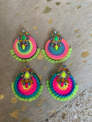 Neon Fan Earrings