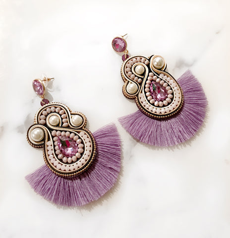 Pastel Purple Pearl Earrings
