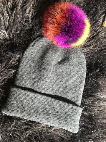 Multi Color Fox Fur Pom Pom Beanie