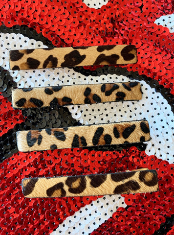Set of 4 Fur Leopard Clips