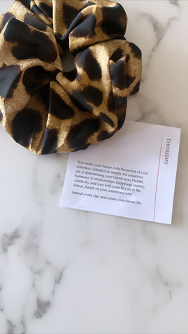 Oversized Satin Leopard Scrunchie