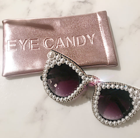 Pearl and Crystal Cat Eye Sunglasses