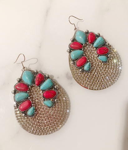Red and Turquoise Crystal Drops