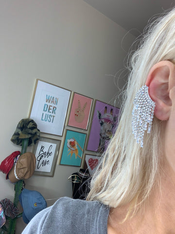 Rhinestone Baby Drip Cuff Earrings