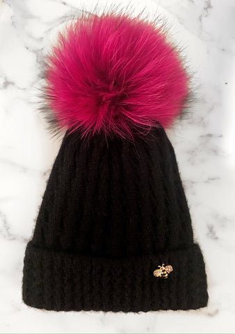Hot Pink Bee Beanie
