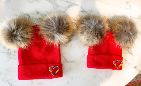 Mommy and Me Valentines Beanies