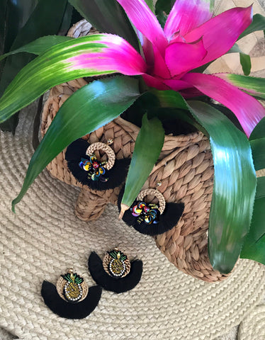 Black Pineapple/ Bee Earrings