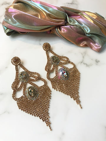 Champaign Mega Glam Earrings / Headband