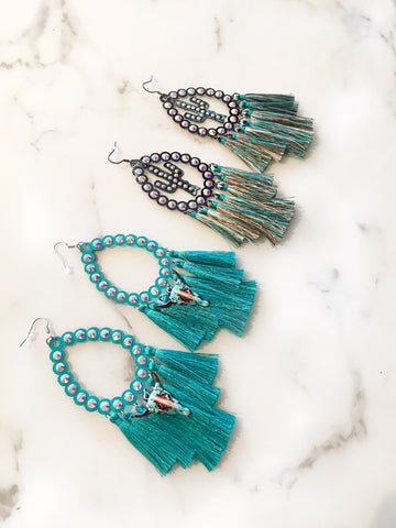Turquoise AB Tassel Earrings