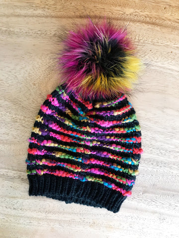 Multi Color Pom Pom Beanie