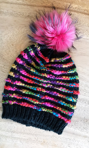 Hand Knitted Multi Color Hot Pink Beanie