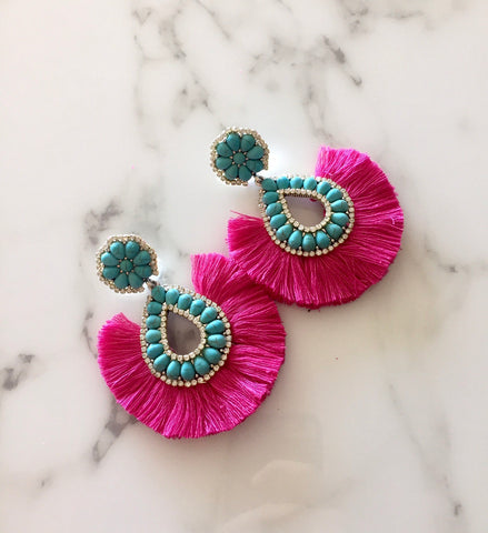 Turquoise and Pink Crystal Fan Earrings