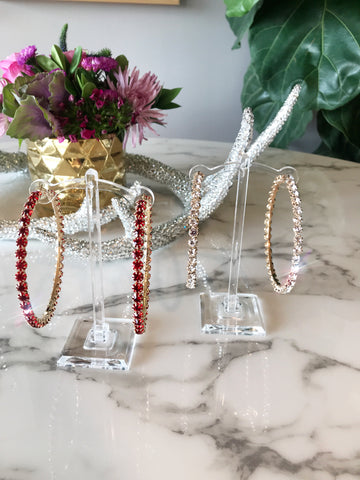 Red/Clear Rhinestone Hoops