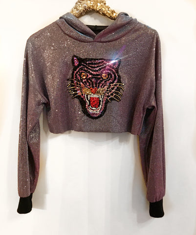 Blue/Purple Glitter Tiger Hoody (Small)