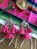 Pink and turquoise tassel earrings