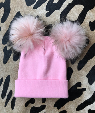 Barbie Pink Double Pom Pom Beanie