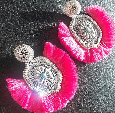 Hot Pink AB Fringe Earrings
