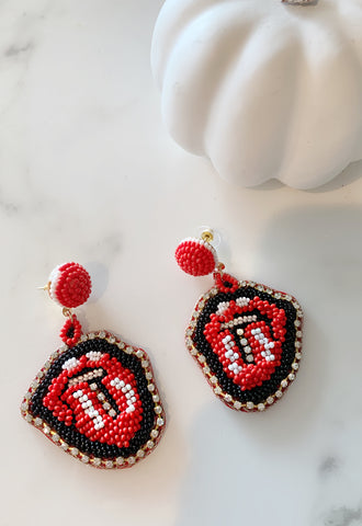 Rolling Stones Beaded Earrings