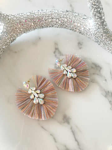 Pastel AB Crystal Fan Earrings