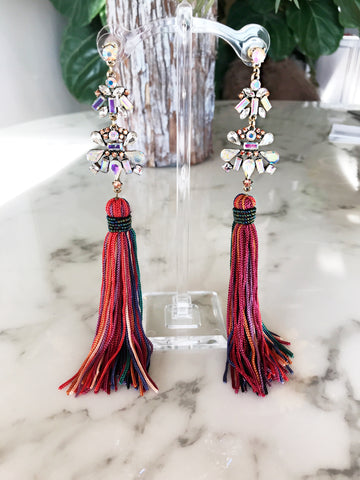 Fall Multi Color Tassel Earrings