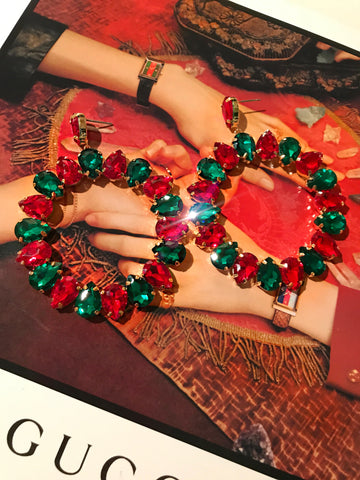 Green and Red Crystal Boho Hoops