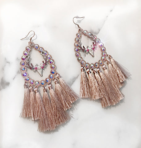 Rose Gold AB Tassel Earrings