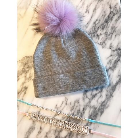 Grey and Purple Pom Pom Beanie