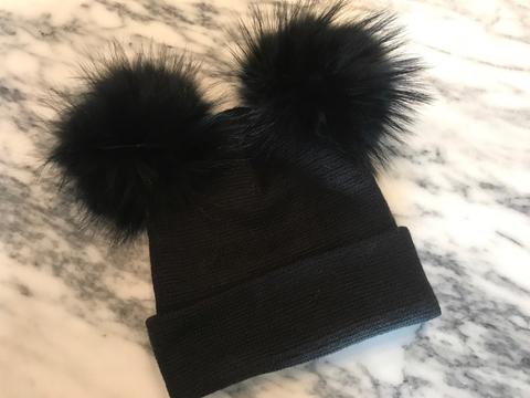 Black Double Pom Pom Beanie