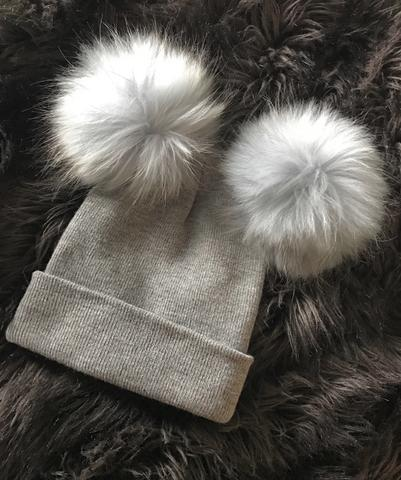 Grey Double Fox Fur Beanie